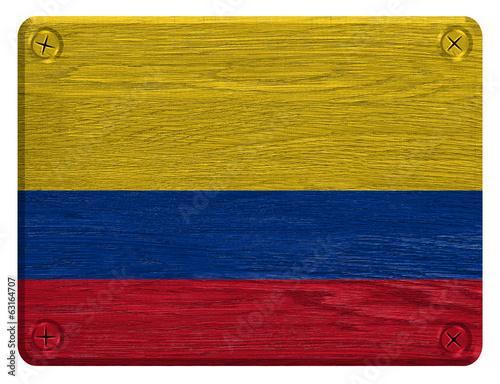 Colombia flag painted on wooden tag