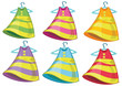 Six colourful dresses