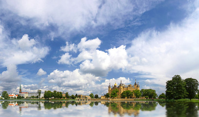 Panoramic view of Schwerin old town with castle