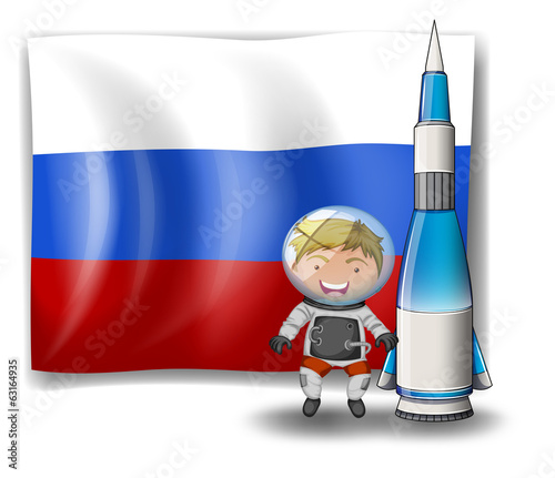 The flag of Russia with an explorer and a rocket