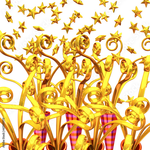 Many Golden Party Poppers For Background