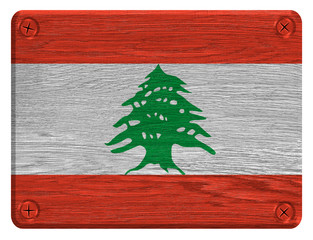 Lebanon flag painted on wooden tag