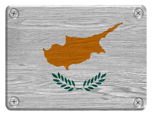 Cyprus flag painted on wooden tag