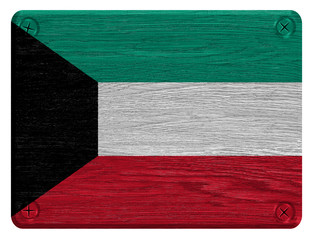 Kuwait flag painted on wooden tag
