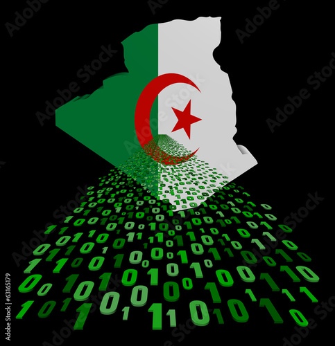 Algeria map flag with binary foreground illustration