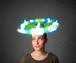 Leinwandbild Motiv Young teenager with cloud social icons around her head
