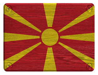 Macedonia flag painted on wooden tag