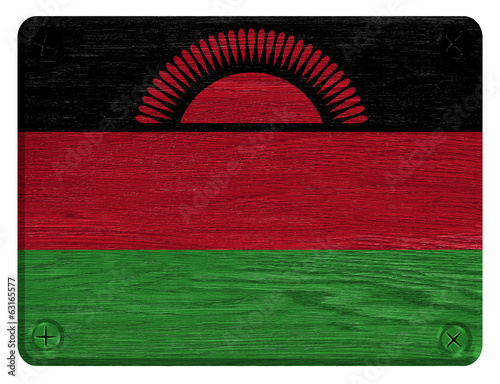 Malawi flag painted on wooden tag