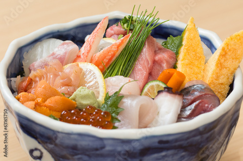 Fresh raw fish rice bowl in Japan