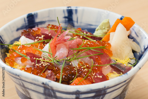 Japanese sashimi raw fish rice bowl
