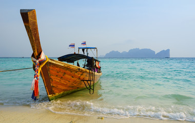 Traditional longtail boat in on Koh Phi Phi Don Island, Krabi, T