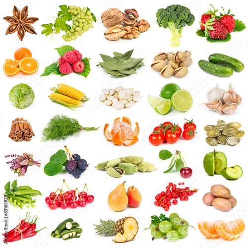 Set of fruits, vegetables, spices and nuts