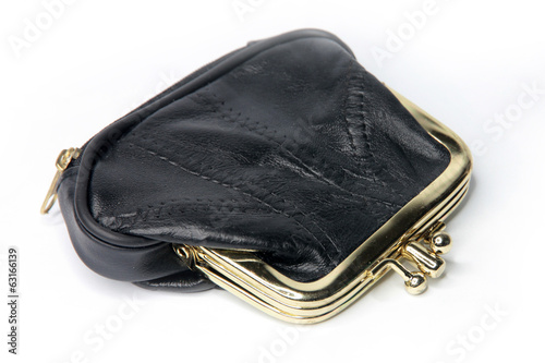 black leather purse for storage of chinks and banknote