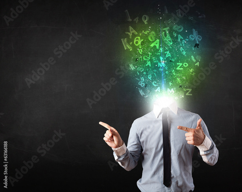 Business man with abstract glowing letters on head