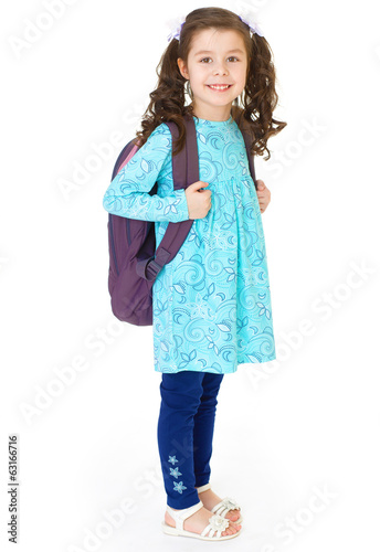 young schoolgirl with satchel.