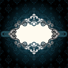 Frame Vintage Ornate Blue