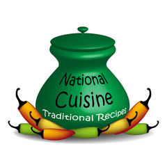 National cuisine green pot