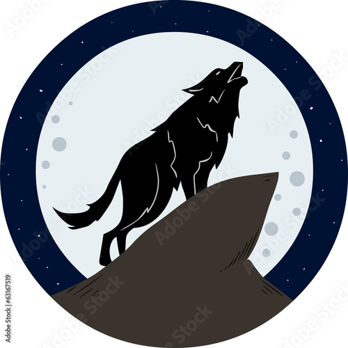 Wolf Howling To The Moon At Night