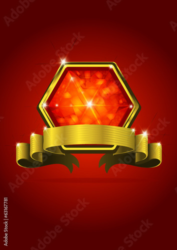 Red Jewel label and red background