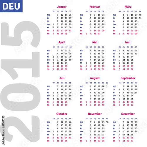 German calendar 2015, vertical calendar grid, vector