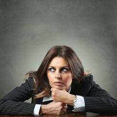 Elegant woman pensive
