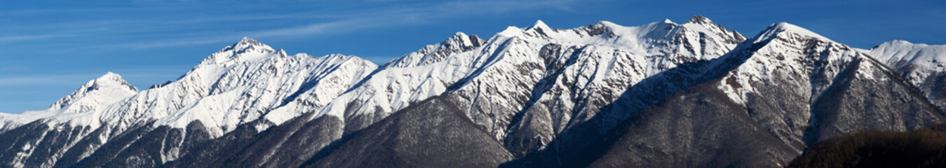 Aerial mountain panorama, North Caucasus, Sochi, Russia