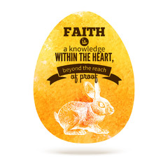 Greeting card with Easter egg symbol. Typographical watercolor