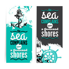 Set of travel grunge banners. Sea nautical design