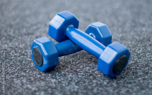 Dumbbells on the carpet in the gym
