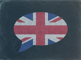 UK Flag Speech Bubble on Blackboard (english language learn)