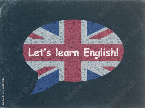 """LET'S LEARN ENGLISH"" Speech Bubble on Blackboard (uk flag icon)"