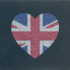 UK Flag Heart on Blackboard (I love English England speak learn)