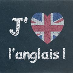 """""""J'AIME L'ANGLAIS"""" sur Tableau (english drapeau coeur langues)"""