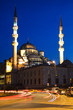 Illuminated New Mosque at Blue Hour, Istanbul