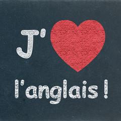 """""""J'AIME L'ANGLAIS"""" sur Tableau (coeur english drapeau langues)"""