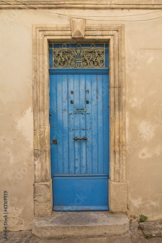 Old blue wooden entrance doo