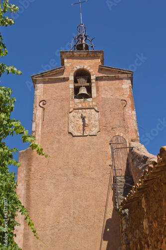 The church clock tower. (Roussillon, Provence, France)