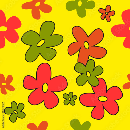 Seamless texture colorful flowers