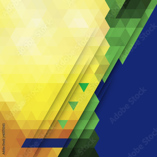 Vector abstract geometric background in Brazil color concept.