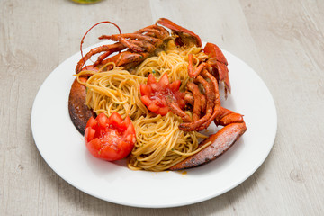 Piatto di spaghetti all'astice
