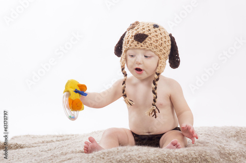 portrait baby on white background