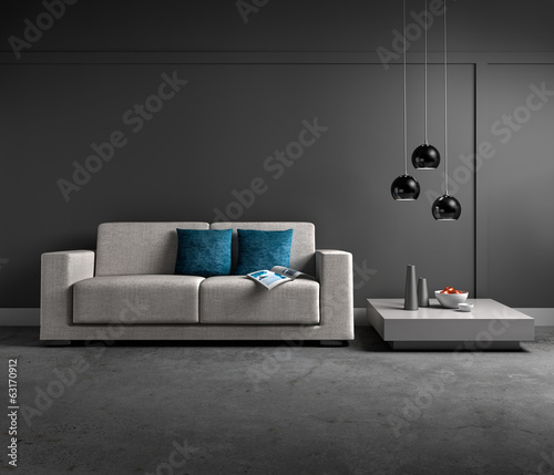 canvas print picture Sofa in grauem Lounge-Ambiente