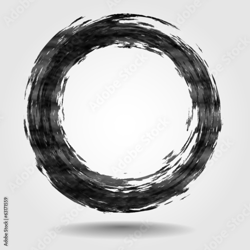 Black Brush Stroke In The Form Of A Circle.