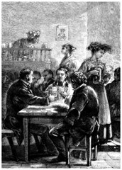 Drinking in the Pub - Au Bistrot - end 19th century