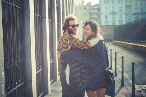 young modern stylish couple urban