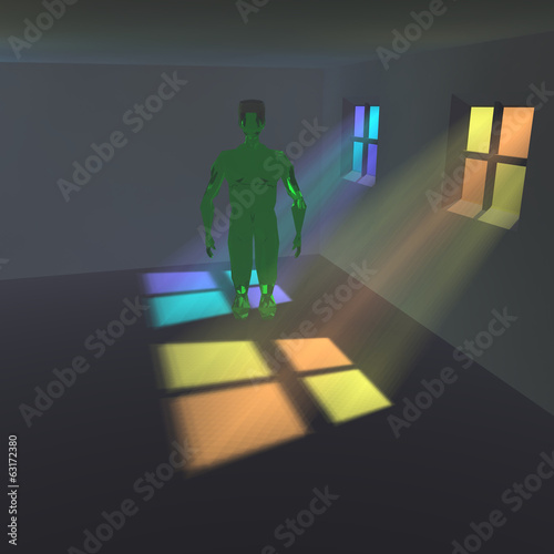 Green alien in a room