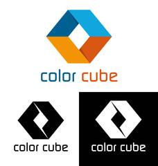 Color cube decorative logo template
