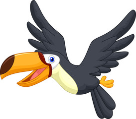 Cute cartoon toucan bird flying