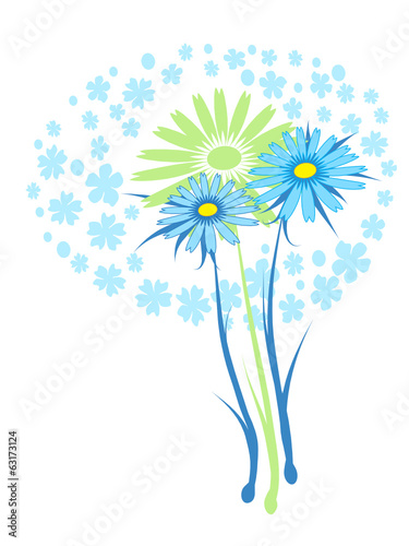blue daisy, vector drawed