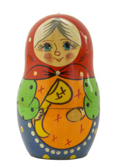 Nested doll in the form of the grandmother with a ladle